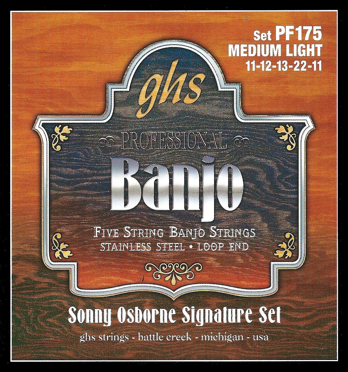 GHS Sonny Osborne Signature Banjo Strings Medium Light PF175
