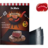 "Dr.Mats Ultimate Non-Stick Grill & BBQ Mat – 100% BPA-Free PTFE Material, 500°F Heat Resistant, Dishwasher Safe 15.74""x 13"" Baking Mat, Compatible With Electric, Charcoal & Gas Grills– FREE BBQ EBook"