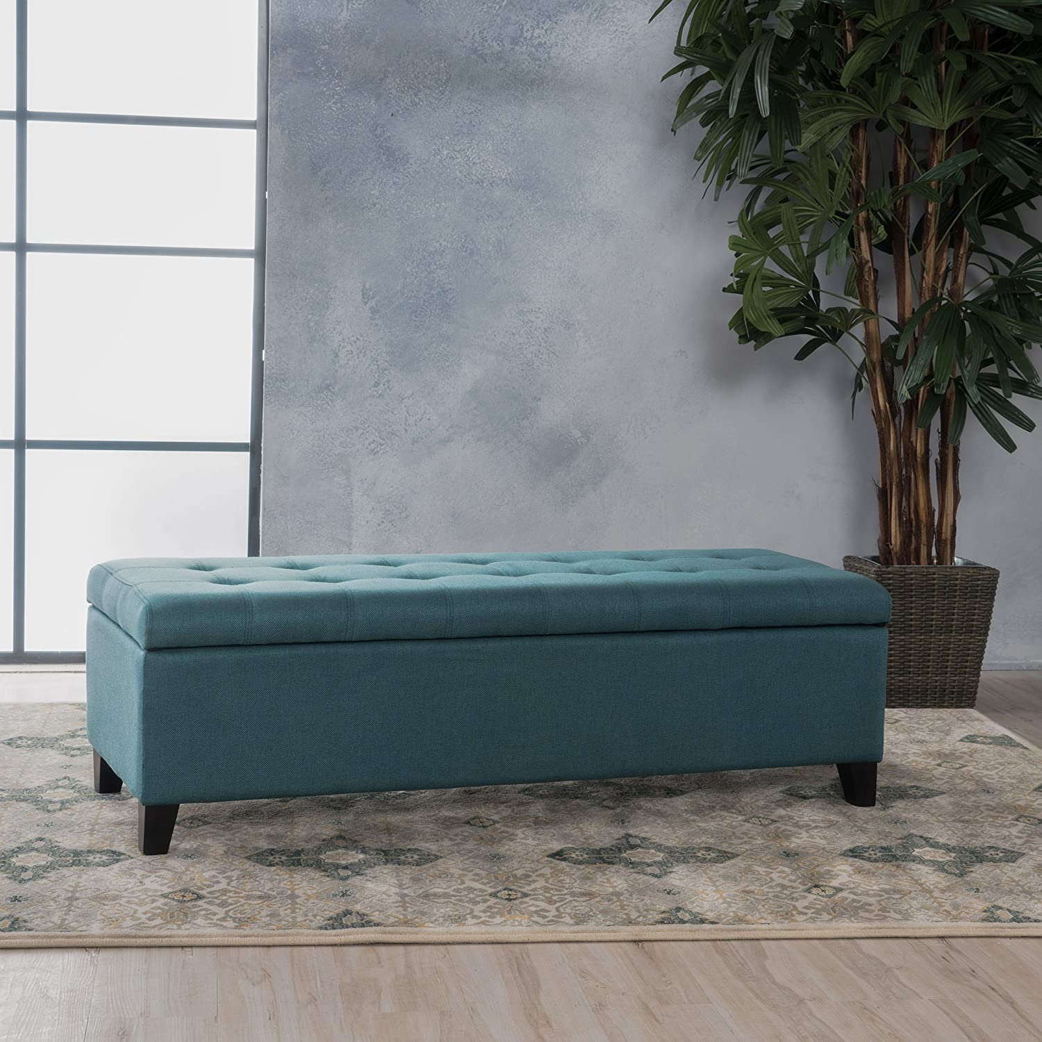 "Christopher Knight Home 299866 Living Sterling Dark Teal Fabric Storage Ottoman, Dimensions: 19.25""D x 50.75""W x 16.25""H Great Deal Furniture"