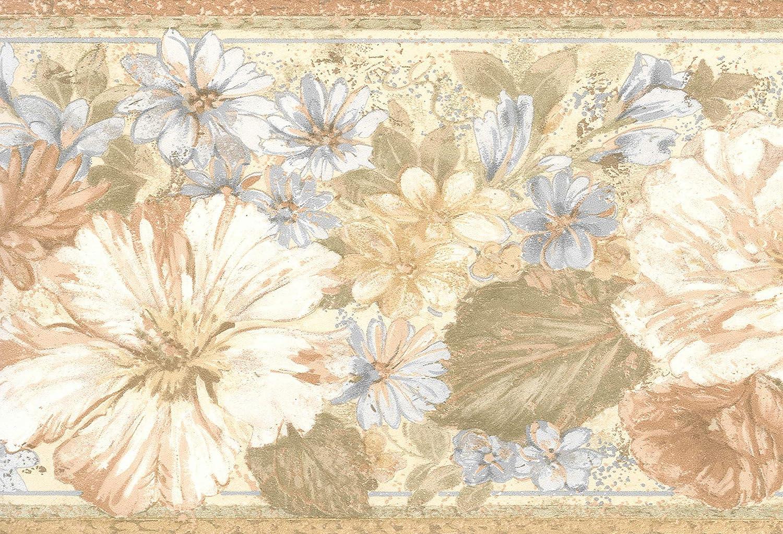 Dundee Deco BD6178 Prepasted Wallpaper Border Lavender 15 ft x 7 in 4.57m x 17.78cm Floral Beige Brown Vintage Flowers Wall Border Retro Design
