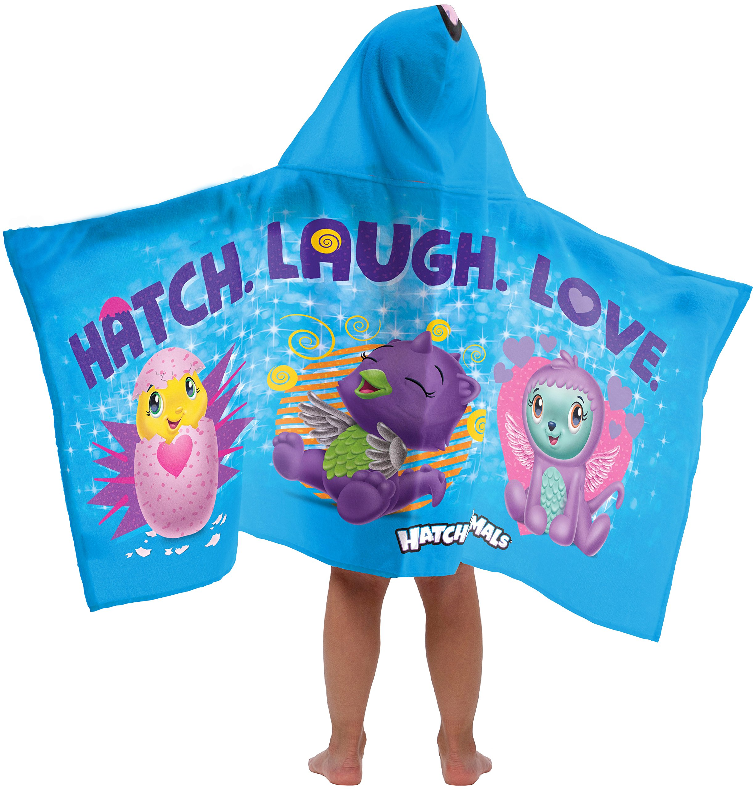 Jay Franco Hatchimals Hatch Laugh Love Super Soft & Absorbent Kids Hooded Bath/Pool/Beach Towel - Fade Resistant Cotton Terry Towel, 22.5'' Inch x 51'' Inch (Official Hatchimals Product) by Jay Franco