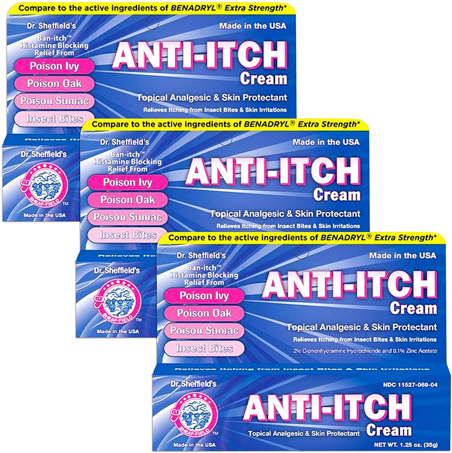Dr. Sheffield's Anti-itch Cream with Histamine Blocker - 1.25 Oz. (3)