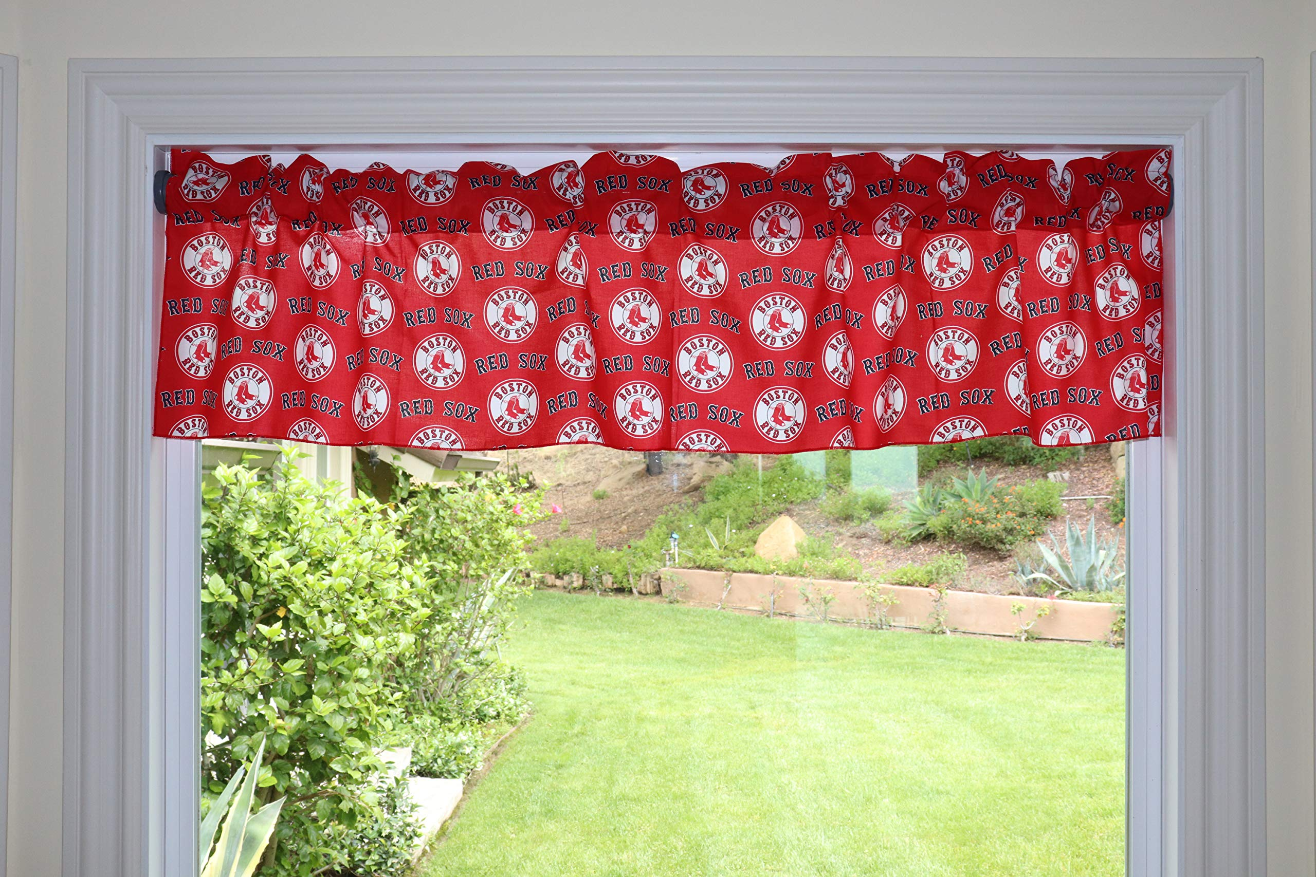 lovemyfabric Baseball Cotton Window Valance 100% Cotton Print MLB Sports Team Boston Red Sox Events Kitchen Dining Room Bedroom Window Decor (58'' Wide) (32'' Tall, Red Sox Red) by lovemyfabric