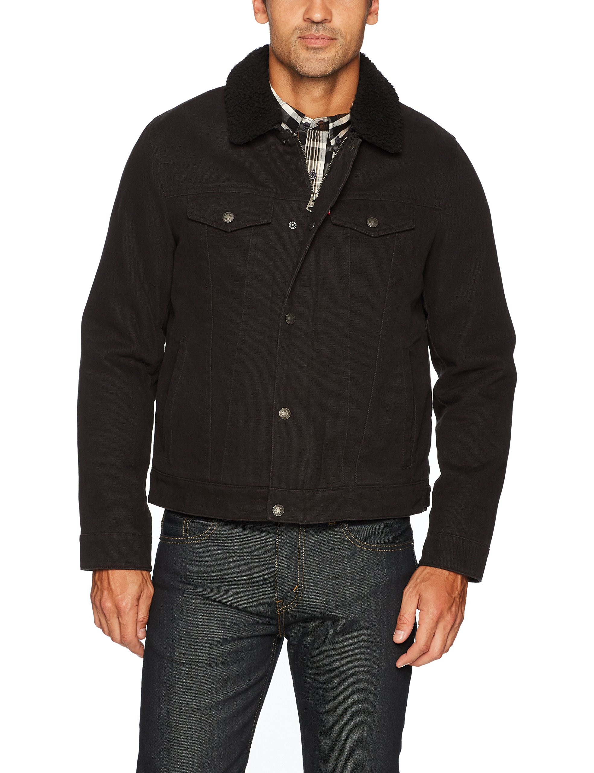 Levi's Men's Cotton Canvas Tucker Jacket with Sherpa Collar, Black, Large by Levi's