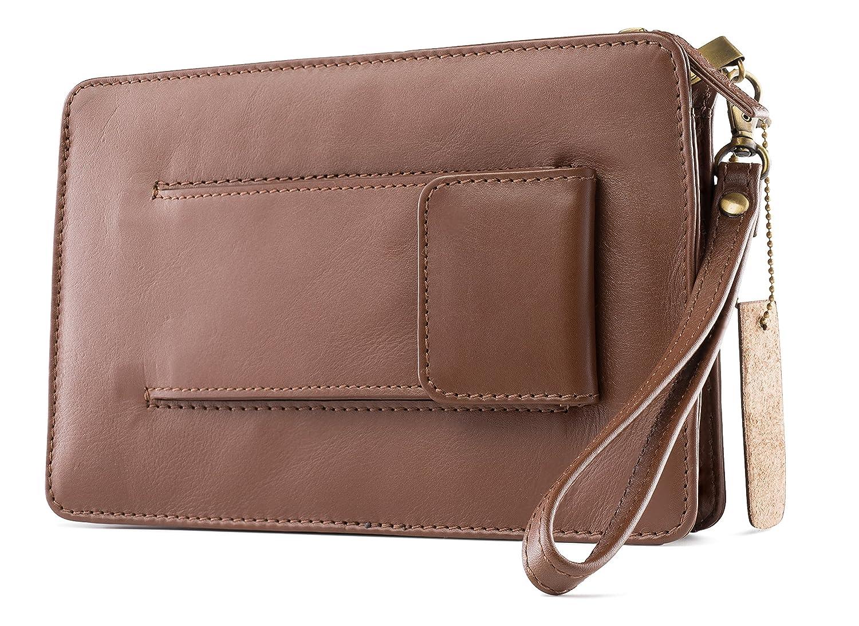 Visconti 02617 Mens Small Wrist Bag Carry- All Travel Clutch 9.5 x 6x 2 (Black)