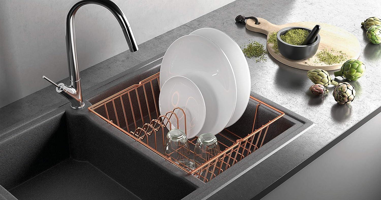Scolapiatti con bacinella e vaschetta addizionale Rame 35x30x12 cm Metaltex Aquatex Plus Copper