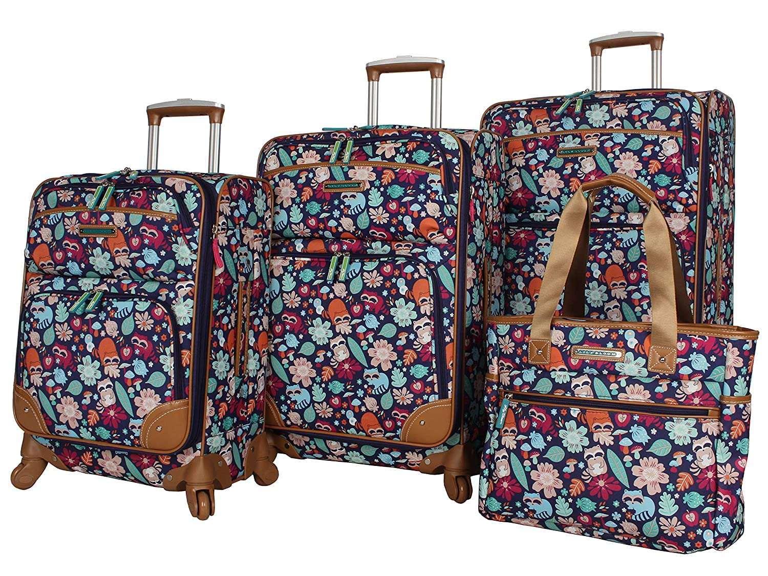 743063f92a8e Lily Bloom Luggage Set 4 Piece Suitcase Collection With Spinner Wheels For  Woman (Harvest Blue)