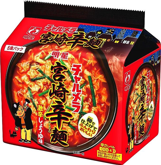 Amazon   明星 チャルメラ 宮崎辛麺 5食パック 480g ×6個   明星 ...