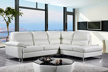 Cortesi Home Contemporary Miami Genuine Leather Sectional Sofa With Right  Chaise Lounge, Cream