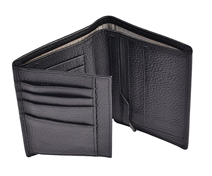 rfid blocking mens trifold wallets large capacity leather wallet 1