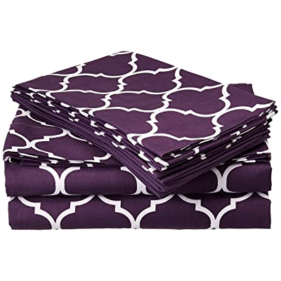 fdc978a658 ... 12 Piece Sheet Set Super Soft Contemporary Geometric Pattern Print Deep  Pocket Design - Includes Flat   Fitted Sheets and Bonus Pillowcases King  Plum