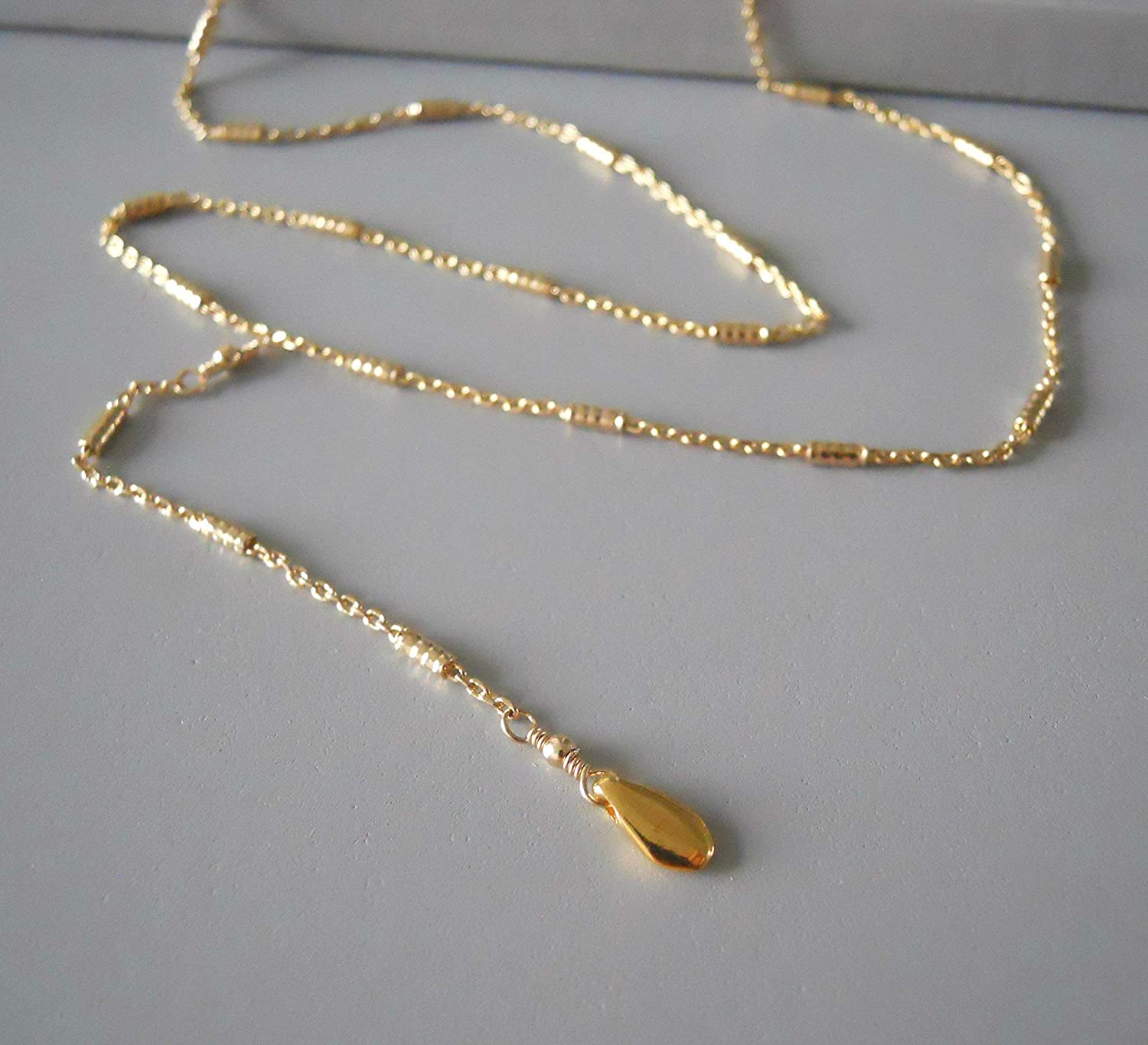 Y Shape Chain Jewel With Tiny Tubes Gold Lariat Necklace