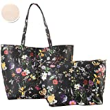 Diophy PU Leather Colorful Floral Pattern Two Tone Reversible Large Tote Womens Purse Handbag with Matching Crossbody Bag 2 Pieces Set FL-6000 FL-6001