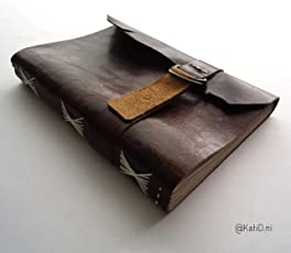 Kati Deni Cuaderno de piel floja café costura en tache