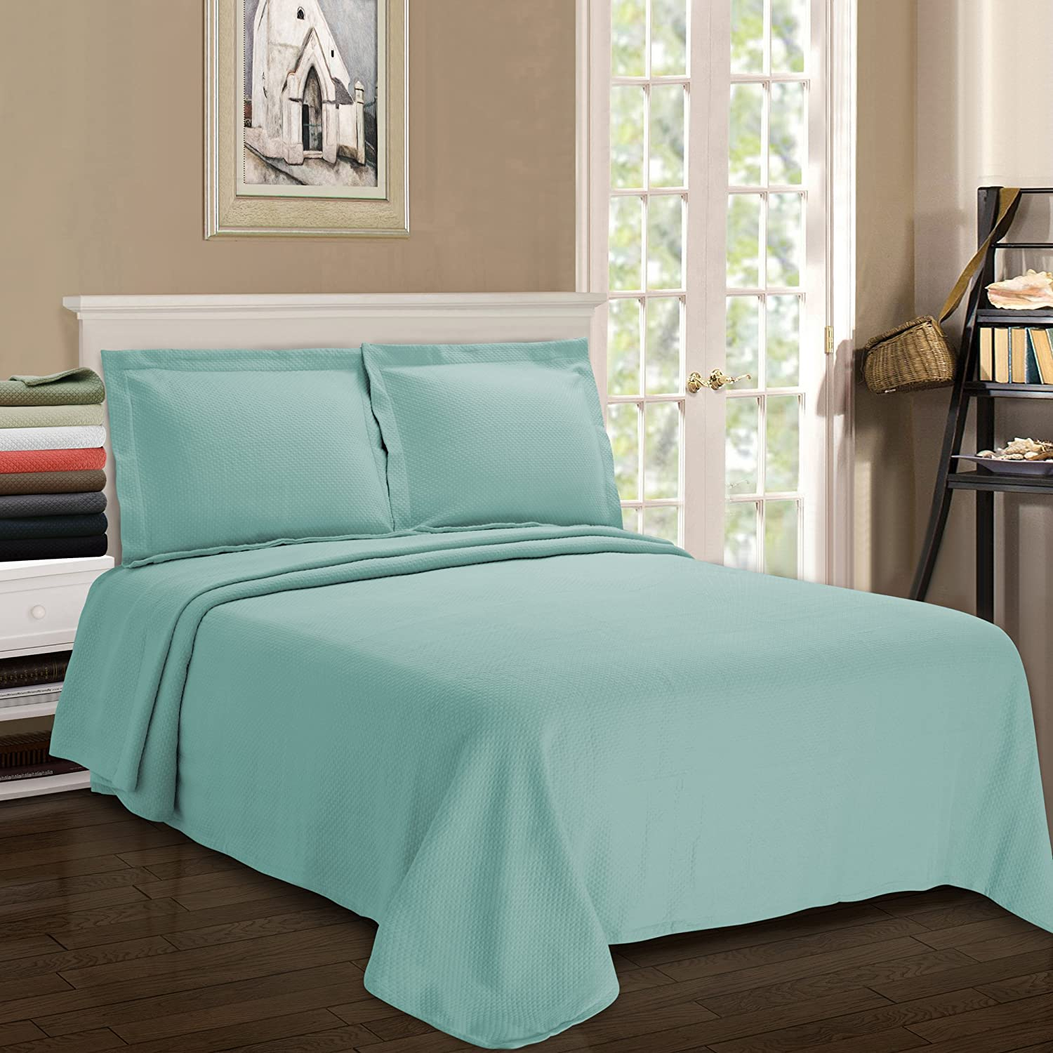 Superior Diamond Solitaire Jacquard Matelass 100 Bedcover Premium Cotton Bedspread With Matching Shams Queen Aqua Home Kitchen