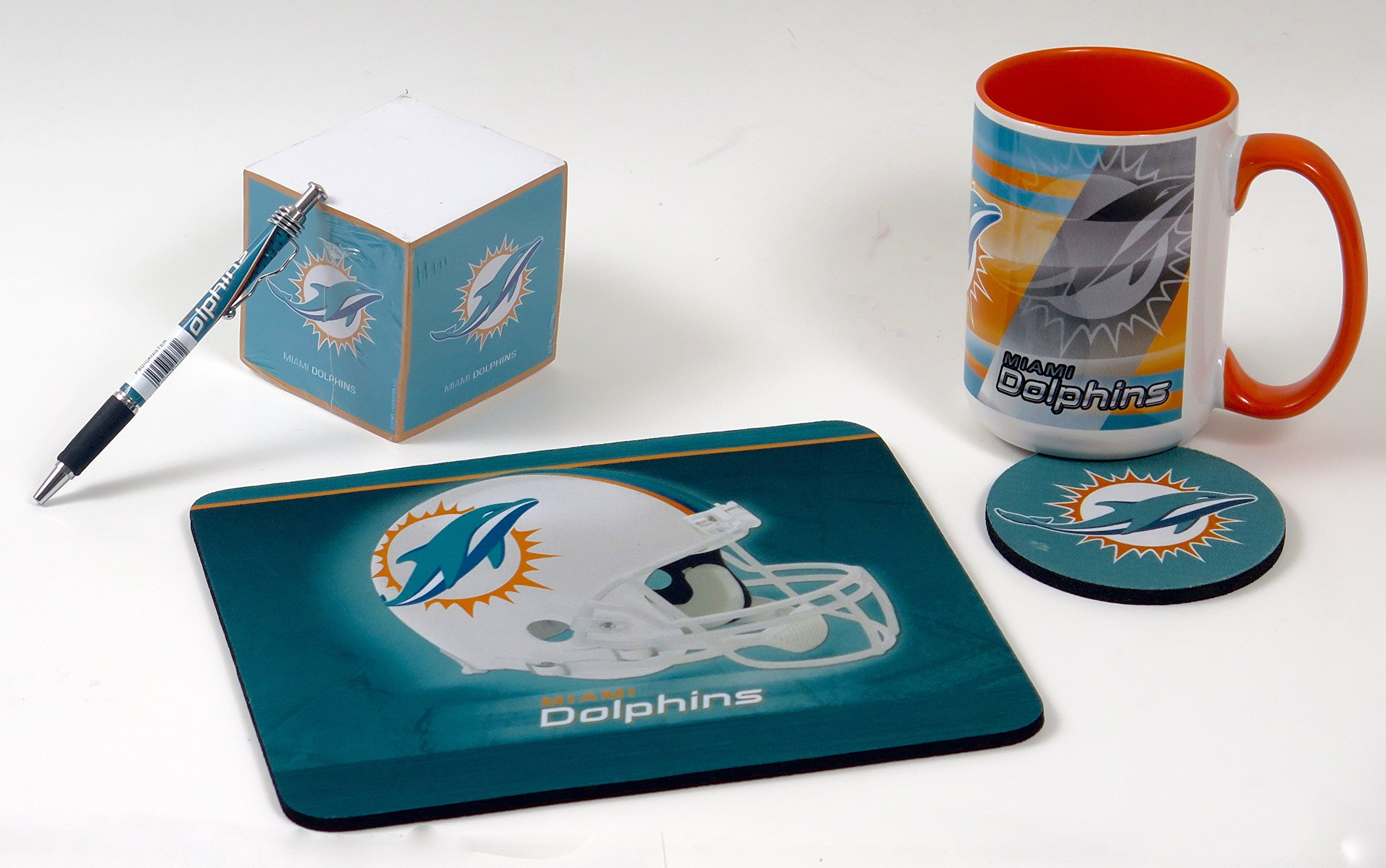 Miami Dolphins Work Station Computer Set. Includes Large Coffee Mug, Neoprene Mouse pad and Coaster, Retractable Pen and a 1000 Sheet Notepad Cube. 5 Peace Set by T (Image #2)