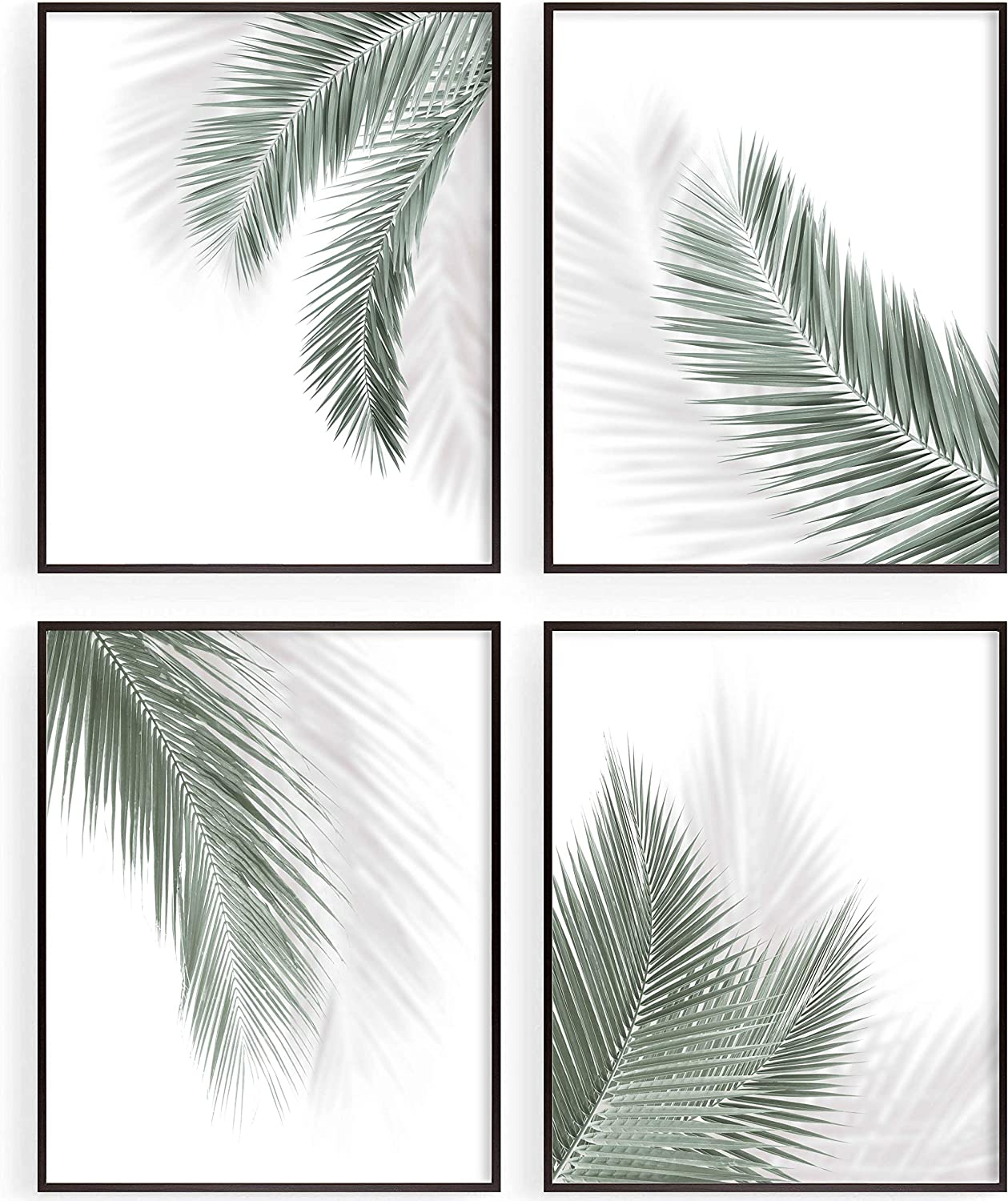 Botanical Bathroom Wall Decor, Green Leaves Simple Wall Art Prints for Home|Farmhouse |Kitchen|Office|Living Room, Palm Wall Posters, Salon SPA Wall Decoration, Minimalist Wall Art, Set of 4, 8