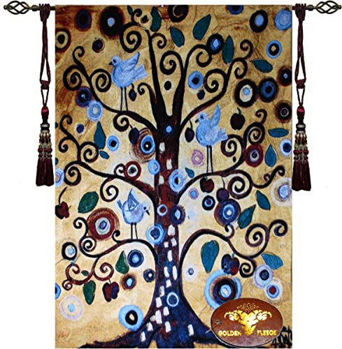 Fabric Bureau Beautiful Natasha Wescoat Tree of Life Fine Tapestry Jacquard Woven Wall Hanging Art Decor