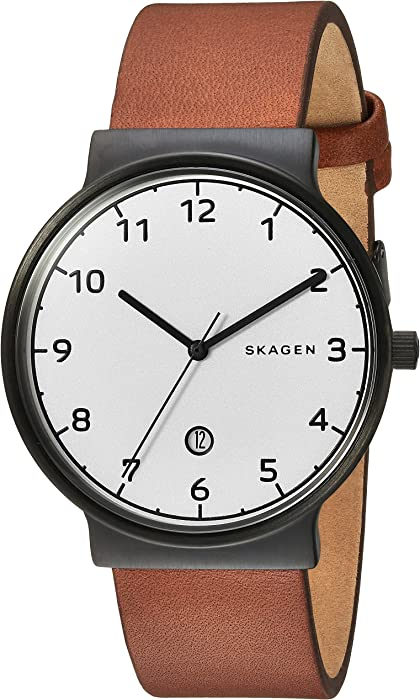 949ca6ec4c6 Amazon.com  Skagen Men s Ancher Quartz Stainless Steel and Leather ...