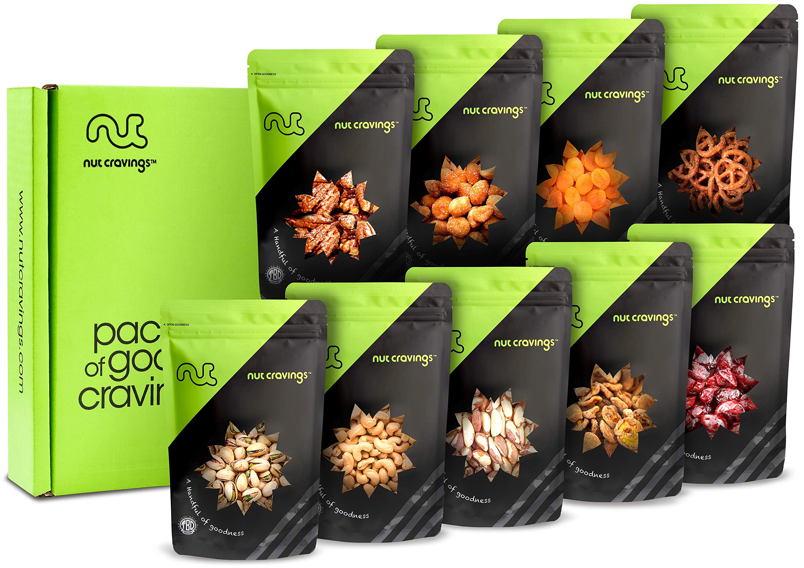 Gift Box Variety 9 Pack - Gourmet Mixed Assorted Nuts & Fruit in Individual Resealable Pouches