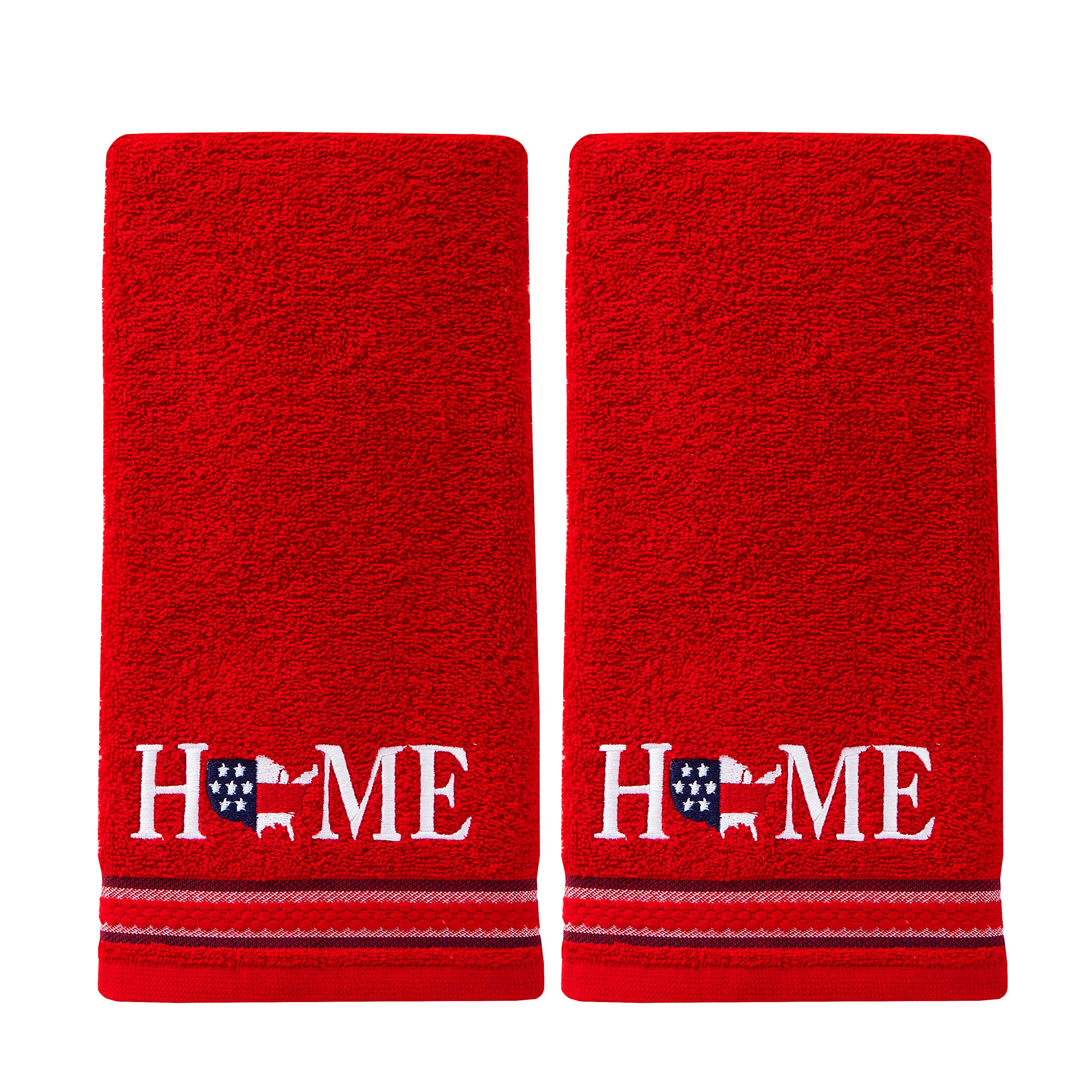 SKL Home by Saturday Knight Ltd. USA Home 2 Pc Hand Towel Set, Red