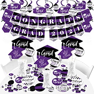 product image for Big Dot of Happiness Purple Grad - Best is Yet to Come - 2021 Purple Graduation Party Supplies - Banner Decoration Kit - Fundle Bundle