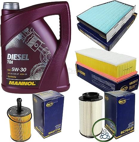 Filter Set Inspektionspaket 5 Liter Mannol Motoröl Diesel Tdi 5w 30 Api Sn Cf Sct Germany Innenraumfilter Luftfilter Ölfilter Kraftstofffilter Auto