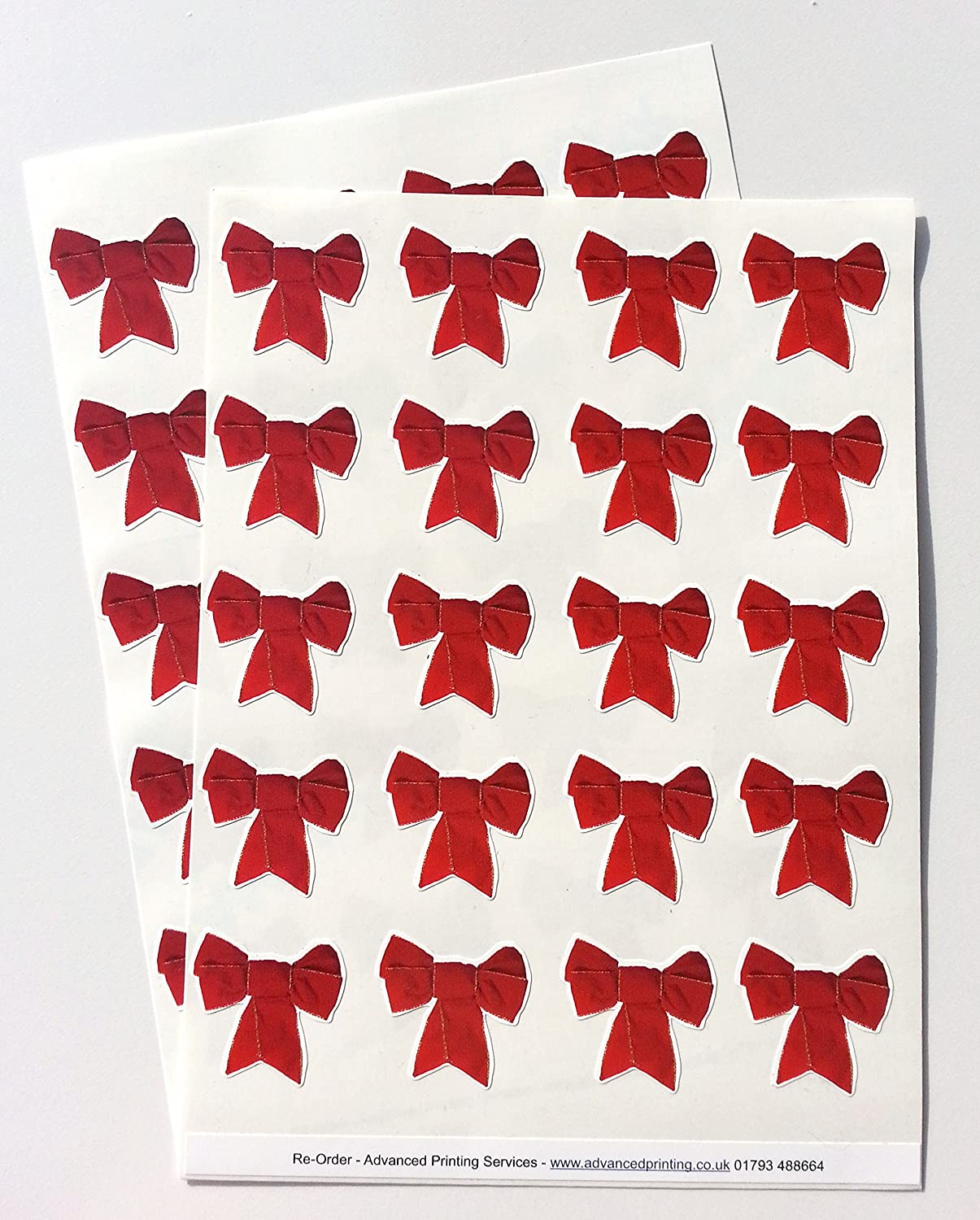 40 decorative Ribbon Bow style envelope seal stickers - Red: Amazon ...