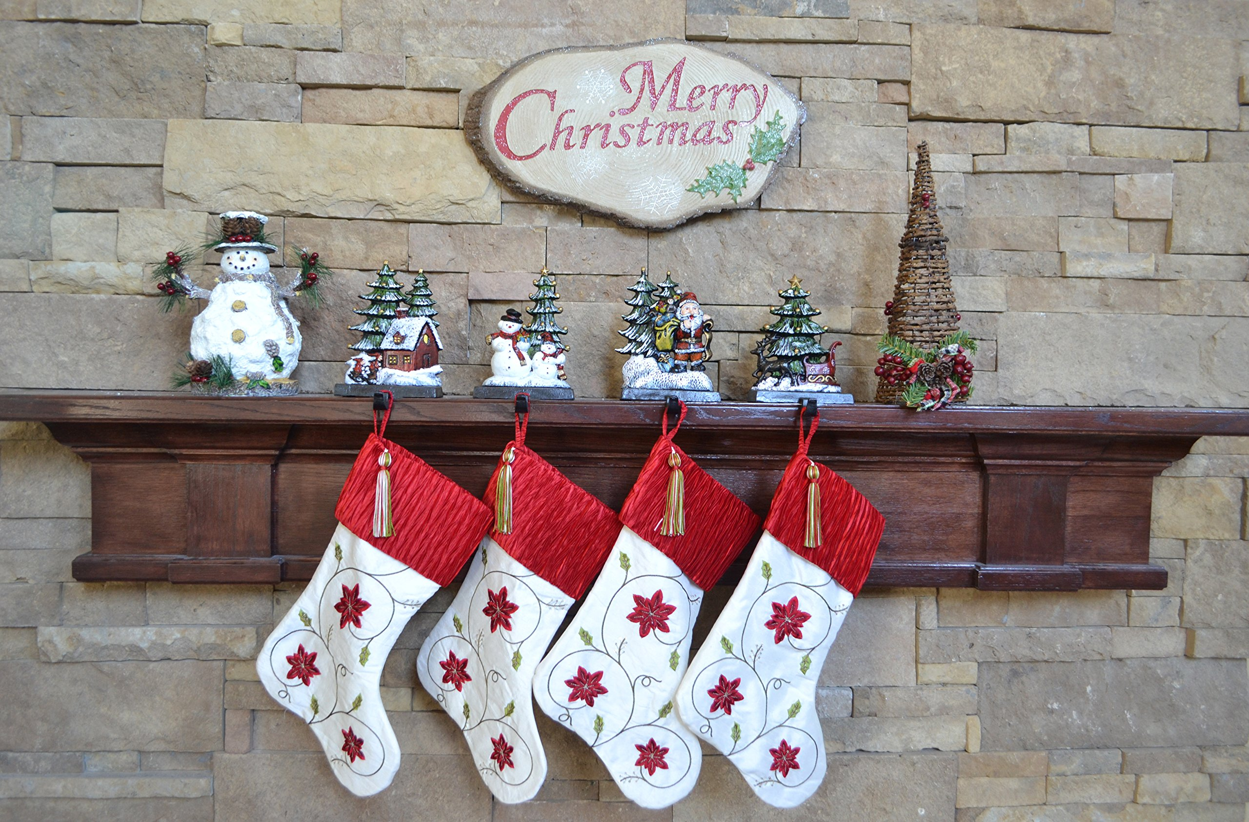 Lulu Decor, Cast Iron Christmas Stocking Holder, Set of 4 hooks, Sleigh with deer, Santa with gifts, House with kids & Snowman with christmas tree (House) by LuLu (Image #8)