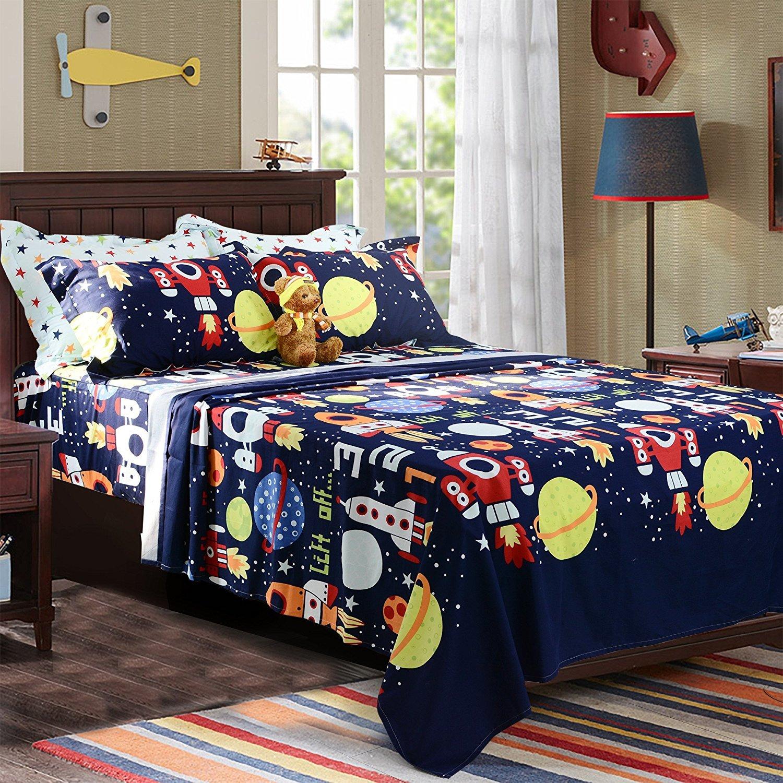 Brandream Boys Bedding Sets Space Sheets 100% Cotton Bed Sheet Set Deep Pocket Hypoallergenic Bedding 100 Cotton Universe Adventure Bedding Full Size