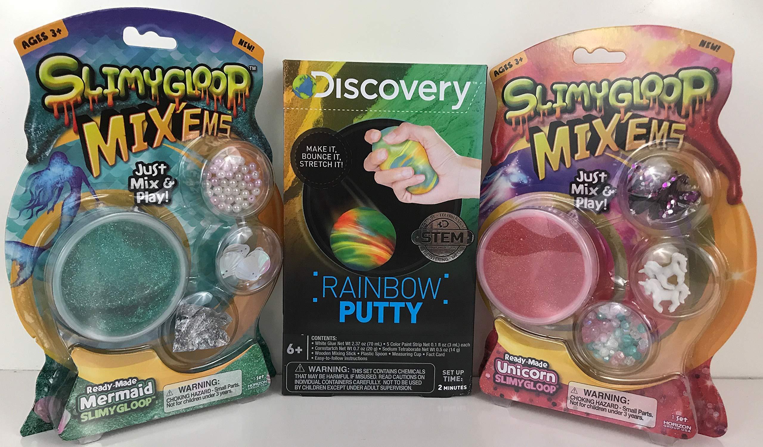 Unicorn and Mermaid Slimygoop Mix'Ems Slime Bundle with Bonus Rainbow Putty