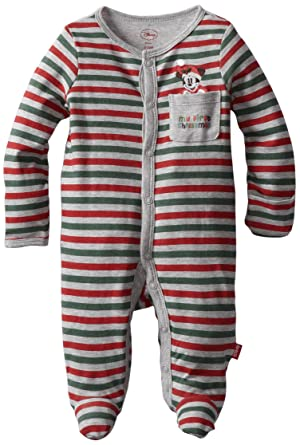 f4b847770 Amazon.com: Disney Baby-Boys Newborn Mickey Mouse My First Christmas Sleep  And Play Romper, Green/Grey/Red, 3-6 Months: Infant And Toddler Rompers:  Clothing