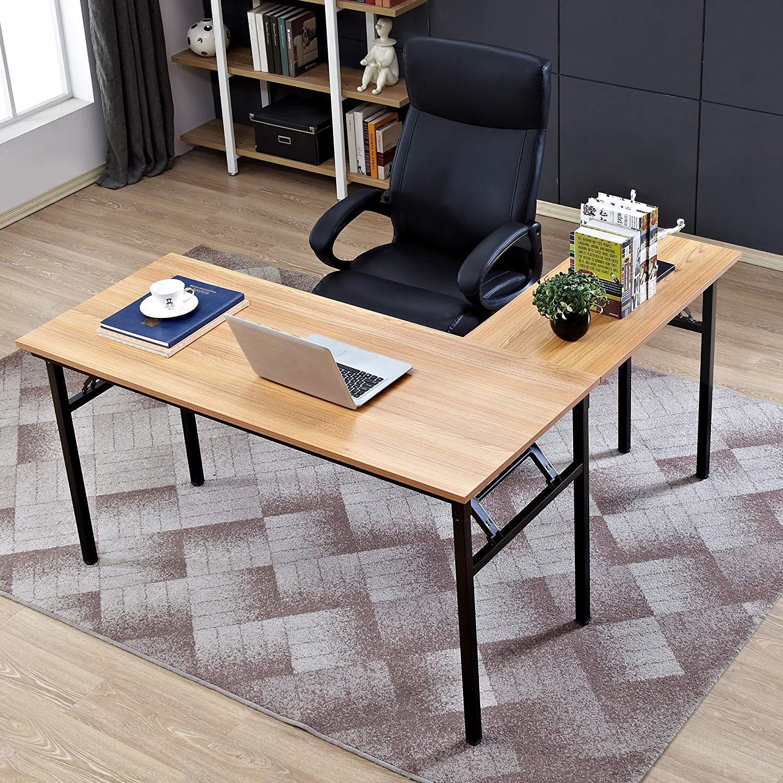 Need 55'' x 55'' L-Shaped Folding Computer Desk, One-Step Assembly, L Desk Home Office Desk Workstation Desk, Teak AC11BB