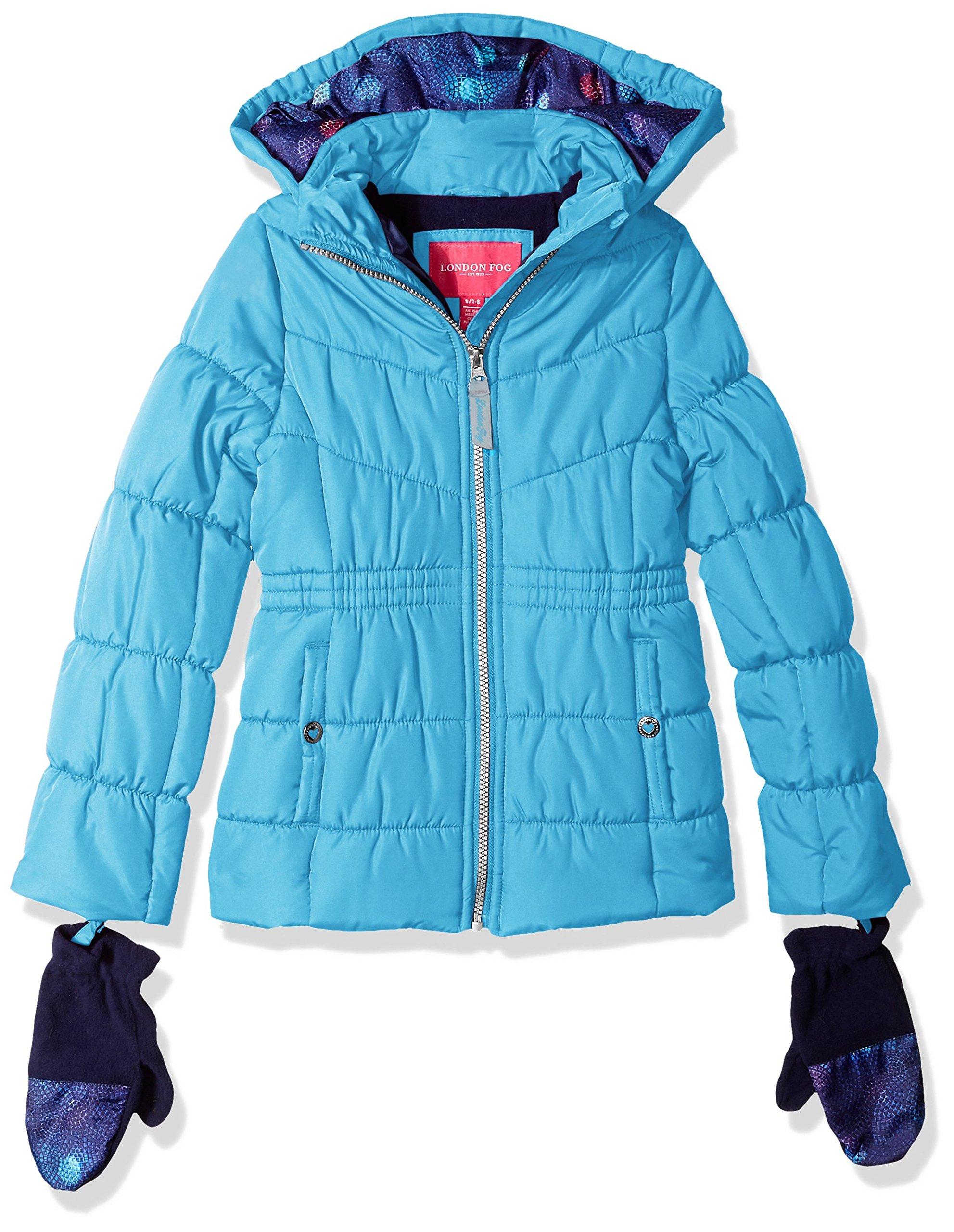 London Fog Big Girls' Warm Winter Jacket Coat Accessory, Turquoise, 10/12