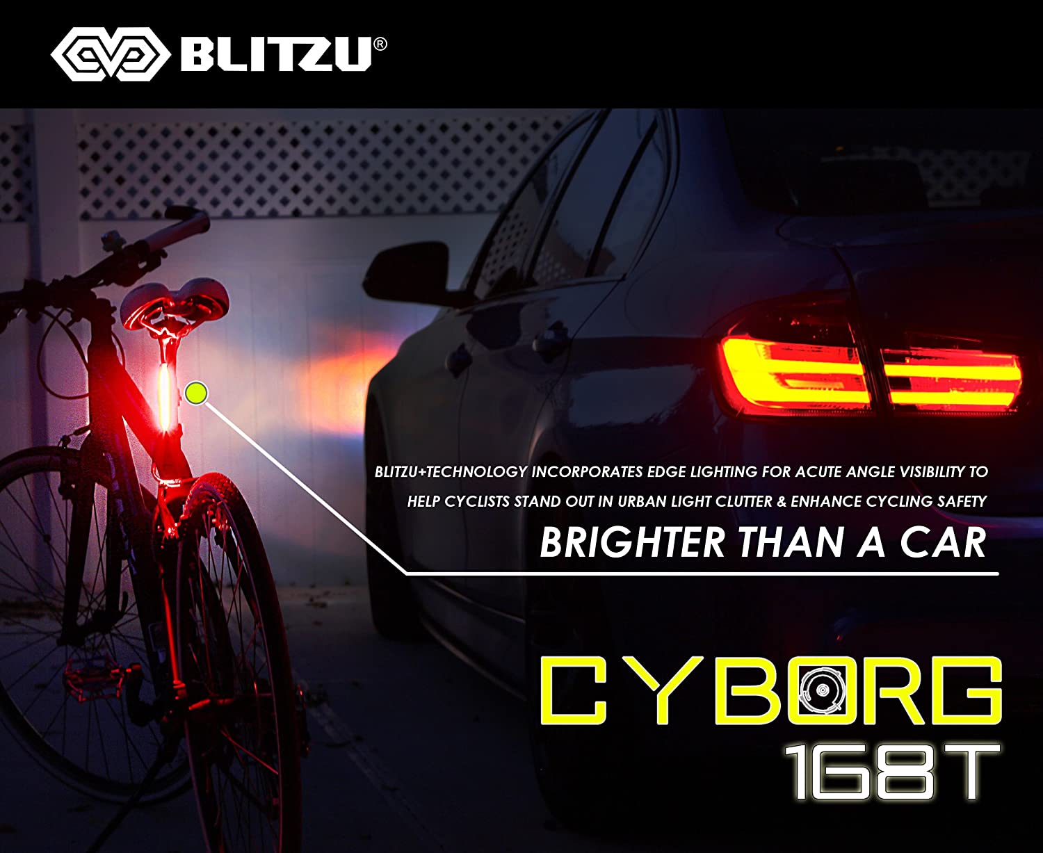 Ultra Bright Bike Light Blitzu Cyborg 168T USB Rechargeable Bicycle Tail Light.