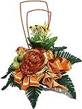Bouquet Vaso a conchiglia con fiori finti in tessuto e fil di ferro, 35 cm, colore: Bianco Giallo Verde Arancione mele Rose