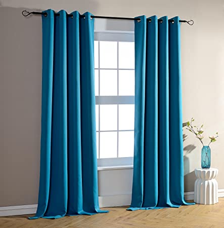 Pair Of Turquoise Blackout Curtains 140 X 260 Cm