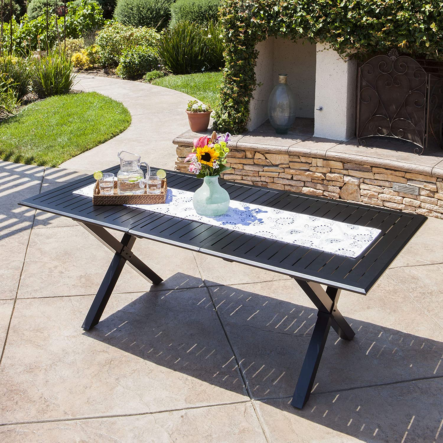 GDF Studio 301072 Eowyn Black Cast Aluminum Expandable Outdoor Dining Table