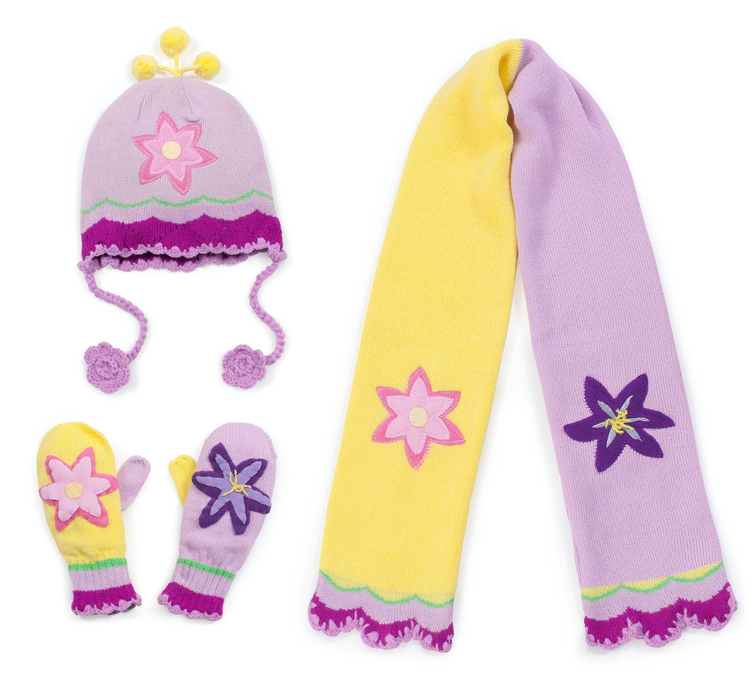 Kidorable Pink and Yellow Lotus Flower Soft Acrylic Knit Hat/Scarf/Mitten Set for Girls, Ages 6-8