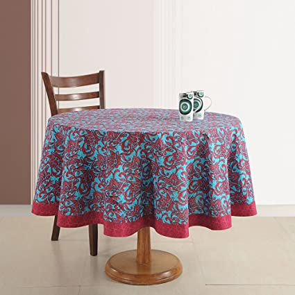 Indian Home Décoration 70 Inches Round Cotton Tablecloth 4 Seater Printed  Floral
