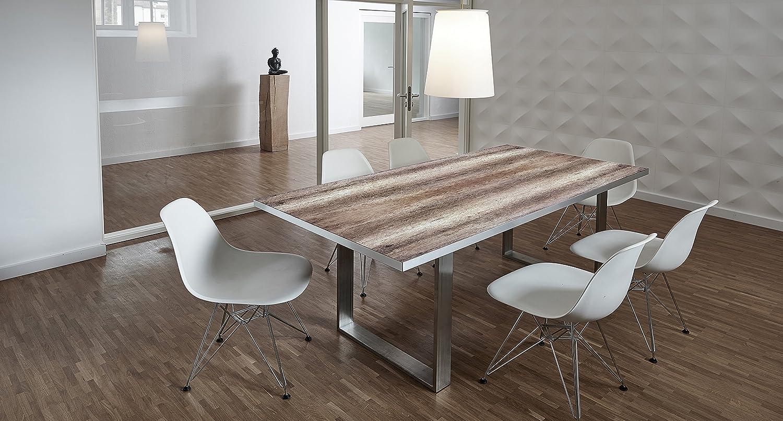 Design-Tisch / Schreibtisch / hochwertige Tischplatte / Esstisch / Arbeitstisch / Bürotisch / Holzoptik / DIY / in zwei Größen erhältlich / ab 449 Euro / (Mit Tischuntergestell Edelstahl, 200x100 cm)