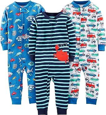 Simple Joys by Carters pijama de algodón sin pies para bebés y niños pequeños, paquete de 3