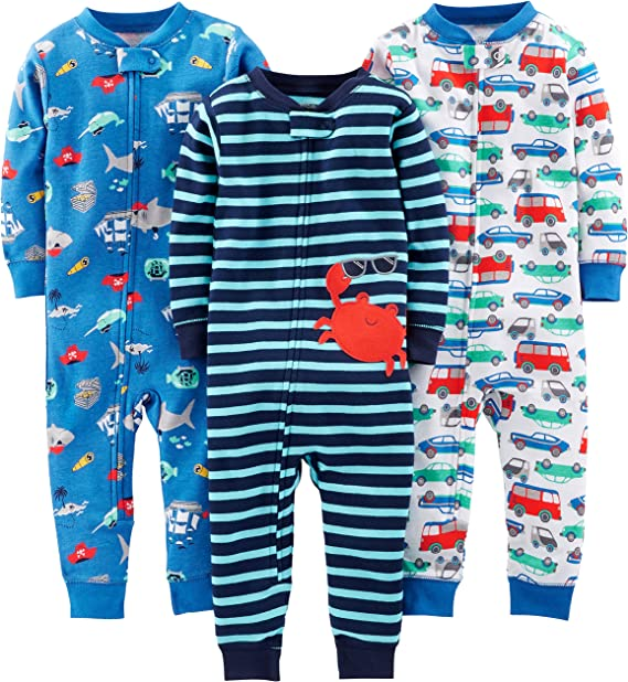 Spotted Zebra Unisex Baby 3-Pack Snug-fit Cotton Footed Sleeper Pajamas Marke