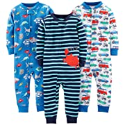 Simple Joys by Carter's Baby Boys' 3-Pack Snug Fit Footless Cotton Pajamas, Crab/Sea Creatures/Cars, 6-9 Months