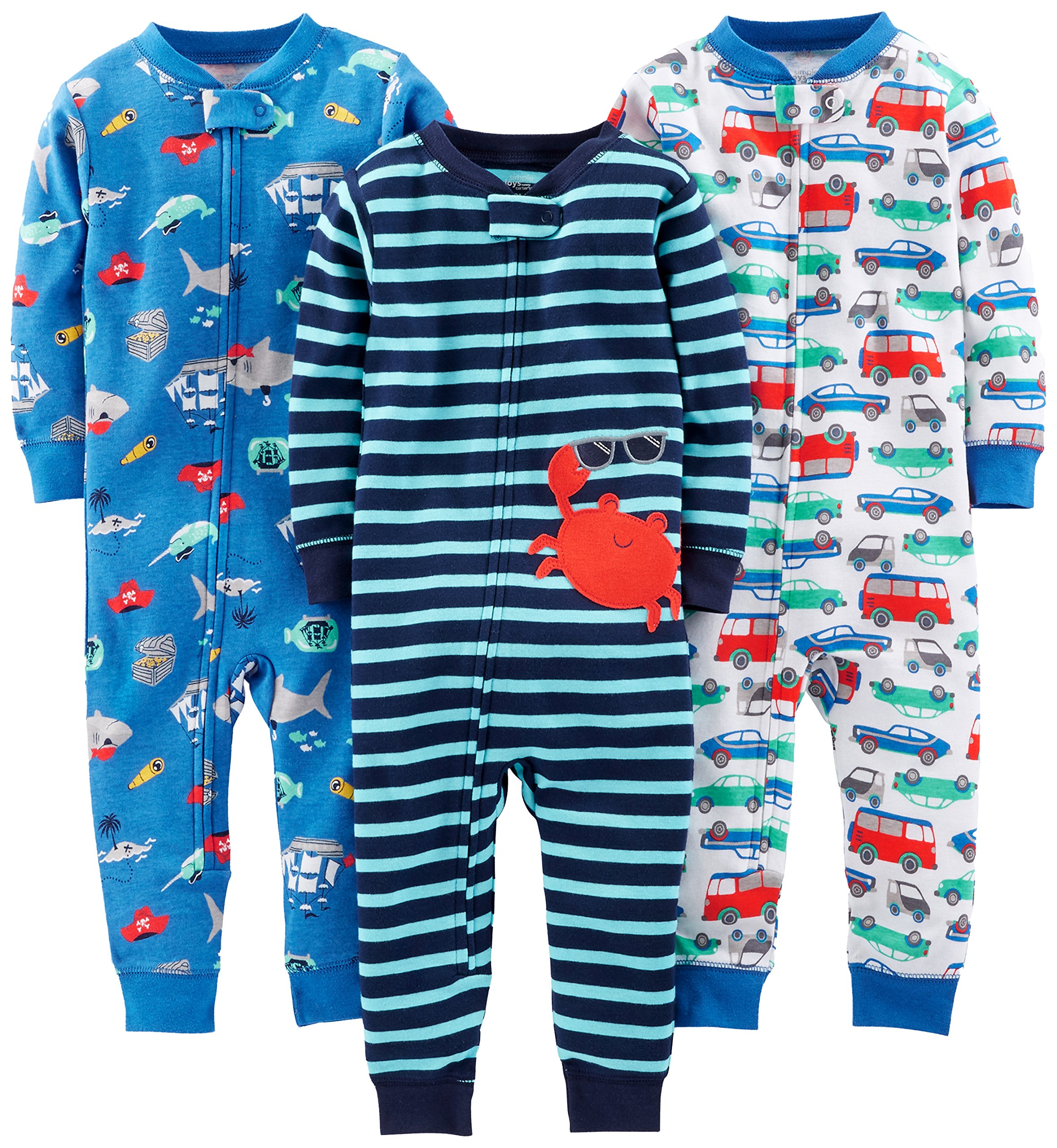 Simple Joys by Carter's Baby Boys' 3-Pack Snug Fit Footless Cotton Pajamas, Crab/Sea Creatures/Cars, 18 Months