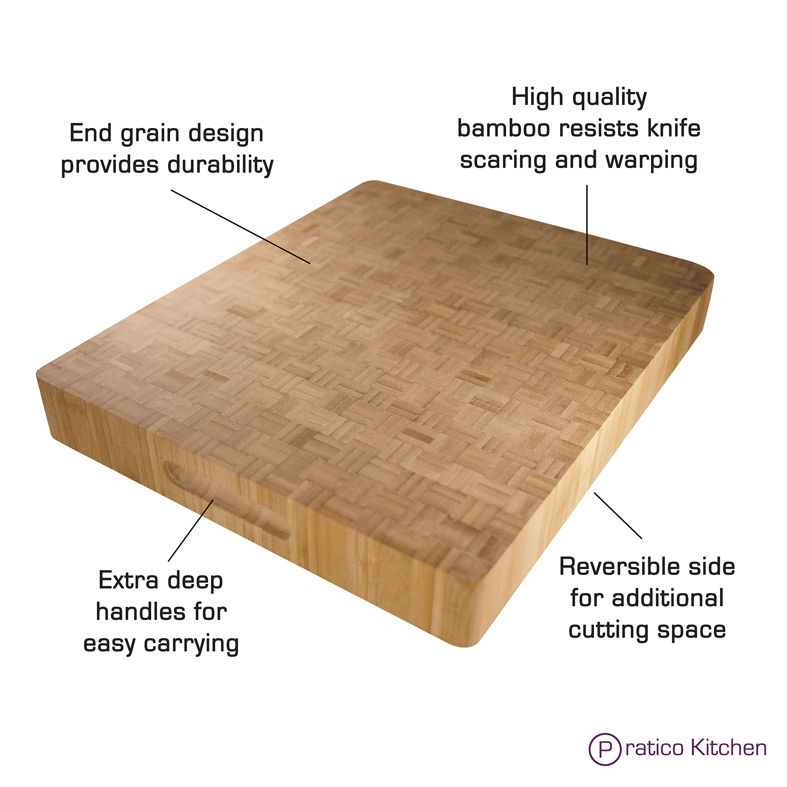 Pratico Kitchen Reversible Organic End Grain Butcher Chopping Block & Serving Tray - 16.5 x 13.5 x 2 inches by Pratico Kitchen (Image #3)