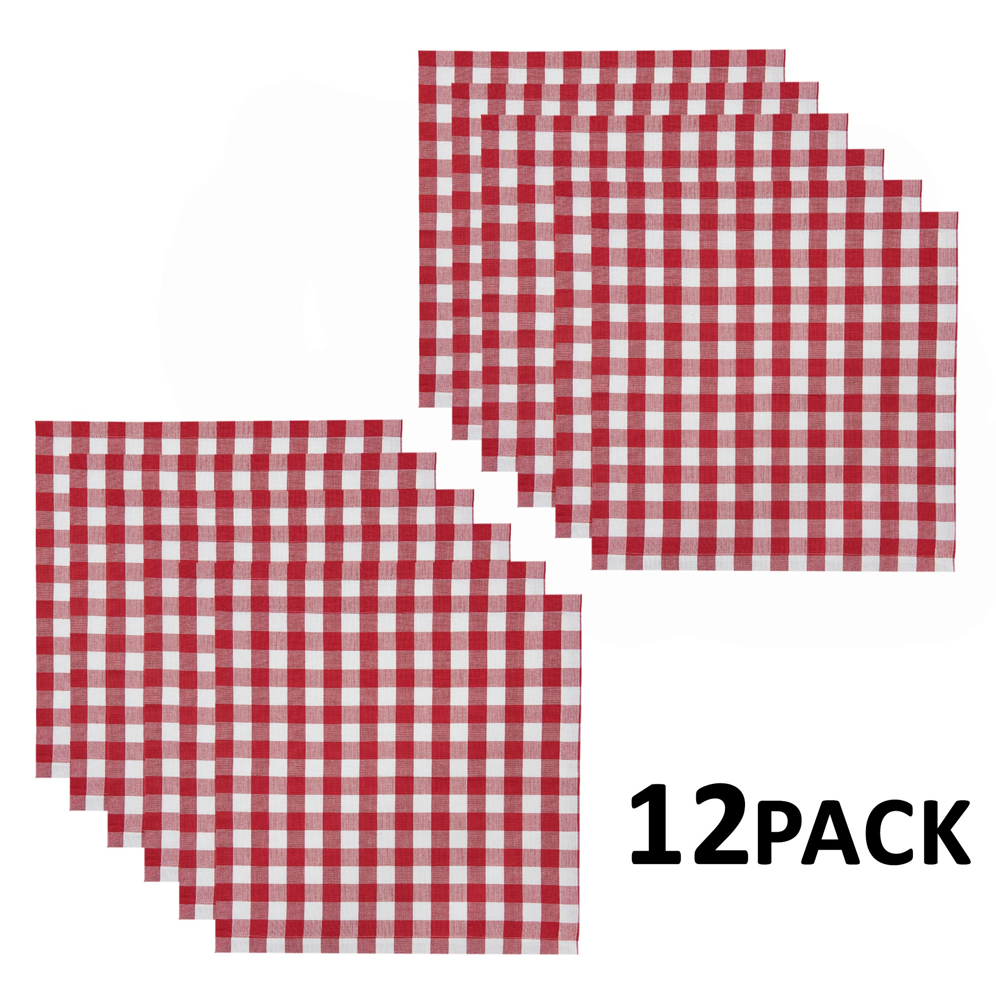 Cotton Craft 12 Pack Gingham Checks Oversized Dinner Napkins - Red - Size 20x20-100% Cotton - Tailored with mitered corners and a generous hem - Easy care machine wash by Cotton Craft (Image #3)