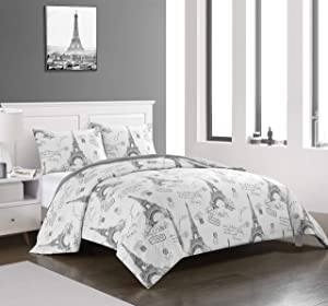 pop shop Paris Love Eiffel Tower Microfiber Ultra Soft Teen and Young Adult Comforter Set Shams Included, Full/Queen, Grey