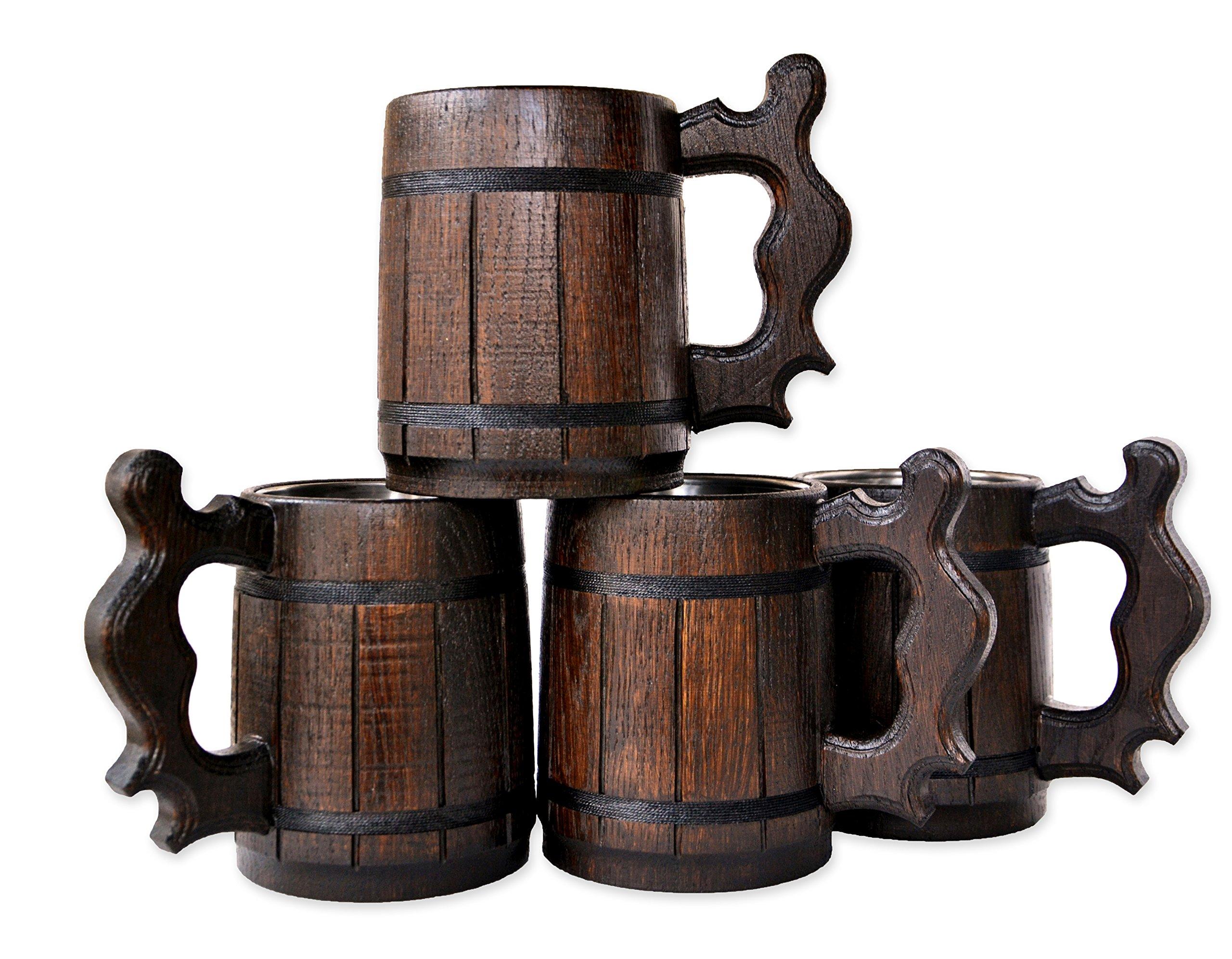 Handmade Beer Mug Set of 4 Oak Wood Stainless Steel Cup Gift Natural Eco-Friendly 0.6L 20oz Classic Brown