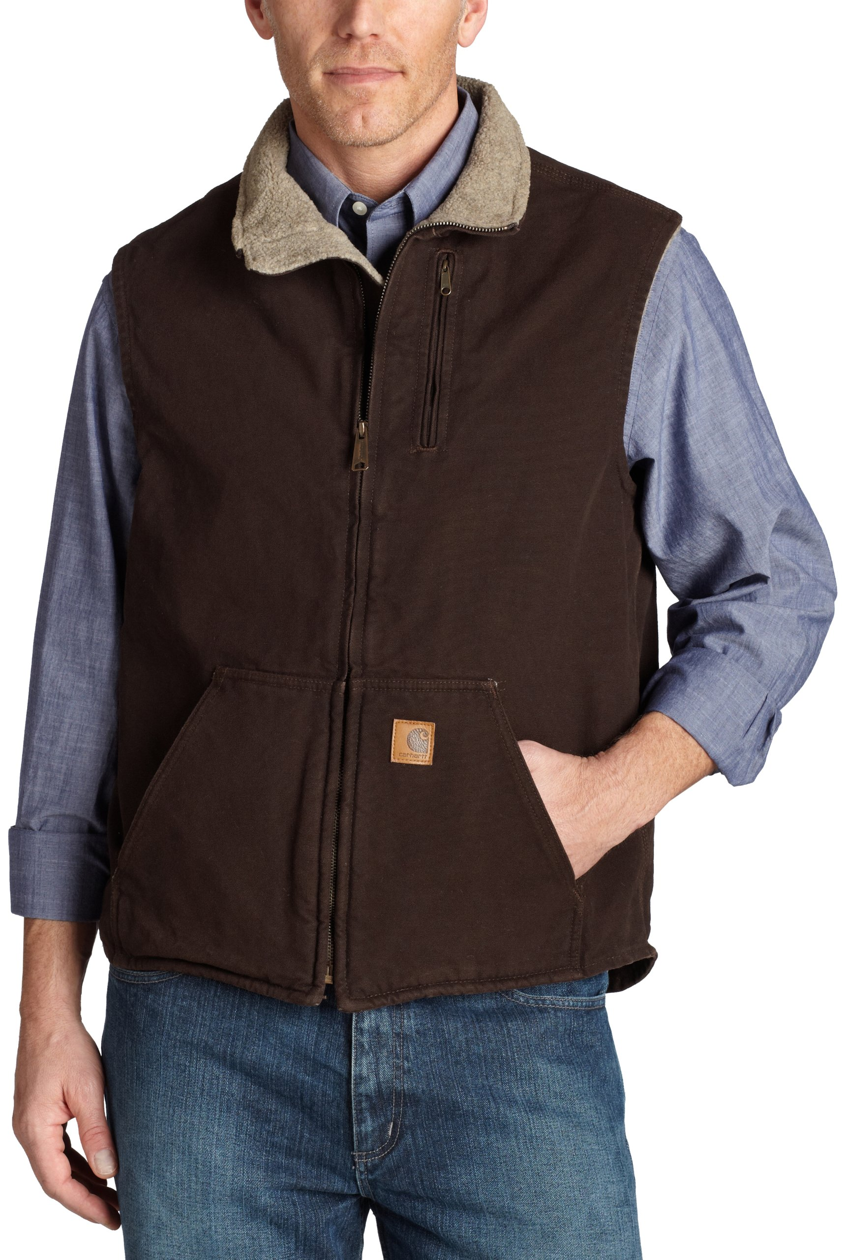 Carhartt Men's Sherpa Lined Sandstone Mock Neck Vest V33,Dark Brown,X-Large